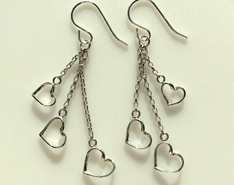 Sterling Silver Hearts on Chains Dangle Earrings - Three Hearts on Chains Long Drop Earrings