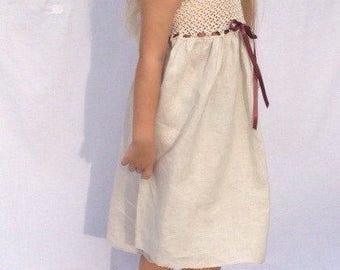 Wedding Dress bridesmaid prom dress girl dress linen and cotton hand made crochet