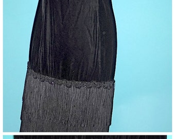 Steampunk Victorian Black Velvet Dress Puffy Pouf Sleeves with Flapper Fringe Sz 10