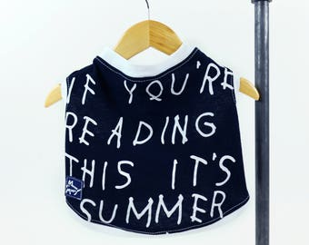 Black Summer Quote Text Small Dog T-shirt Upcycled Sleeveless White Trim Girl or Boy Dog Ready to Ship