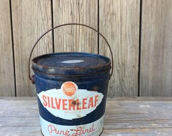 vintage tin pail, lard pail, vintage food container, swifts silverleaf pure lard