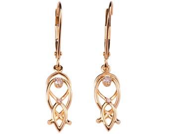 Celtic Earrings, 18K Rose Gold Earrings, Diamond Dangle Earrings, Small Earrings, Bridal Earrings, vintage, Celtic Diamond Earrings, eng9