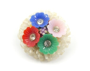 Vintage Plastic Flower Brooch, Fruit Beads, Rhinestones
