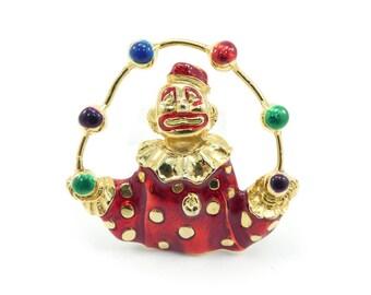 Vintage Juggling Clown Brooch, Red, Multi Color Balls, Gold Tone