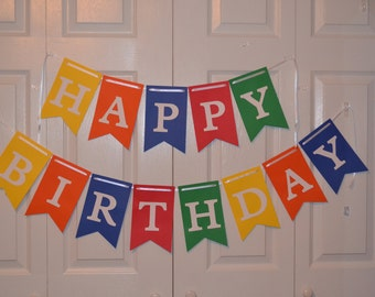 Happy Birthday Banner - Primary Colors - READY TO SHIP