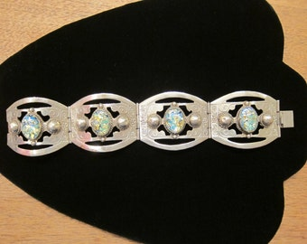 Vintage Mexico Alpaca Silver Art Foil Harlequin Glass Cabochons Panel Linked Hinged Bracelet 7 Inches - Mexican Jewelry AS IS