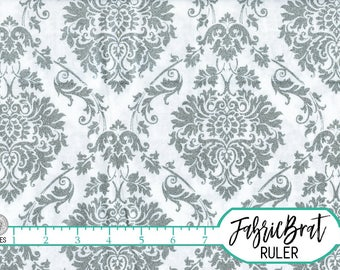GRAY DAMASK Fabric by the Yard, Fat Quarter GLITTER Fabric Gray Fabric 100% Cotton Fabric Quilting Fabric Apparel Fabric Yardage a1-9