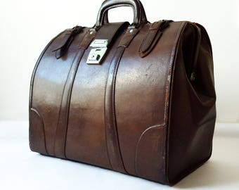 French Vintage Leather Travel Bag / Gift for him / Leather suitcase/ French leather lagguage /Brown leather/ Easter