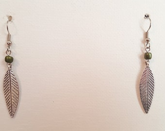 Silver Feather Dangle Earrings 1718