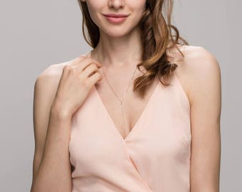Simple Lariat - Delicate gold lariat, Simple Y chain necklace in 14K Gold filled or Sterling Silver   EL001