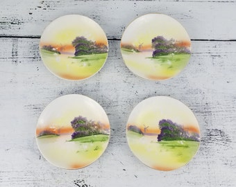 Hand-painted Japanese Appetizer Plates, handmade, collectible, scenic, household, serving set
