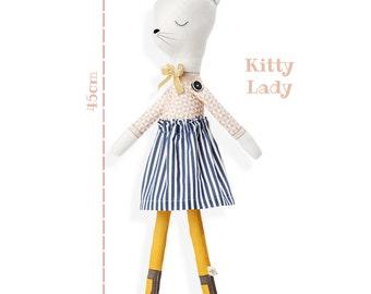 KITTY LADY - CAT doll - Plushie Stuffed Toy -  Softie for Girl - Animal Doll - rag doll