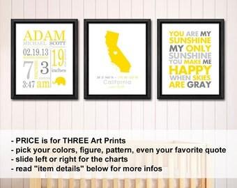 baby birth subway art, custom baby annoucements, custom baby name nursery art, baby birth date print, baby name art, baby stats art set of 3