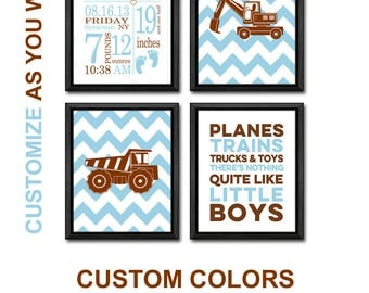 baby nursery decor construction site, truck birth announcement wall art, personalized baby decor truck theme, baby stats, birth date print