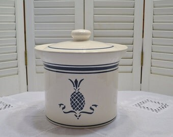Vintage Pfaltzgraff Spectrum Hospitality Canister Large Size White Blue Pineapple Retro Kitchen Storage PanchosPorch