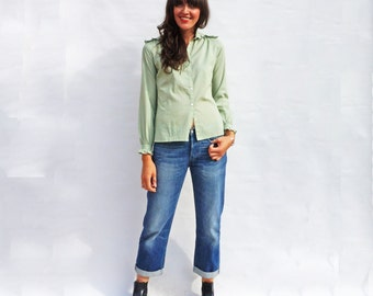 Cotton Blouse, Ruffle Blouse, Vintage 1970s Long Sleeve Green Frill Shirt, Casual Blouse, Frill Shirt, Casual Shirts, Frilly Blouse, Boho