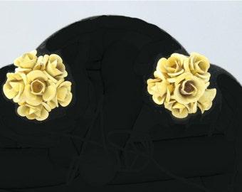 Clip on earrings   yellow enamel rose clusters   vintage metal rose earrings