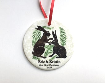 Our First Christmas Ornament - Woodland Rabbits - Personalized Newly Married Couple Ceramic Ornament - Unique Bridal Shower, Wedding Gift