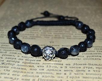 Black Lava and Larvikite Bracelet. Lion Lava stone Larvikite Shamballa bracelet. Men's Bracelet.