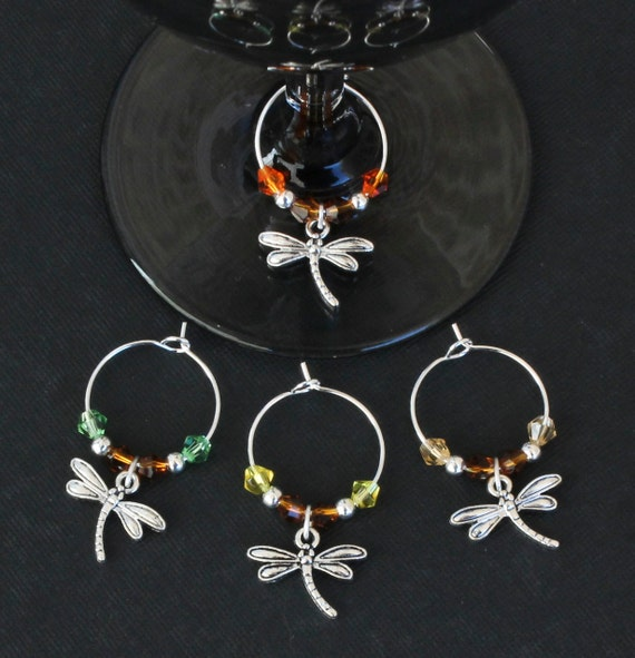 dragonfly wine glass charms set of 4 drgnfly001 4