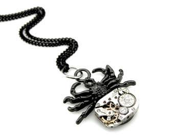 Clockpunk Spider - Black Widow Pendant -  clockwork spider pendant - Black Tarantula Spider Necklace - Steampunk gift idea