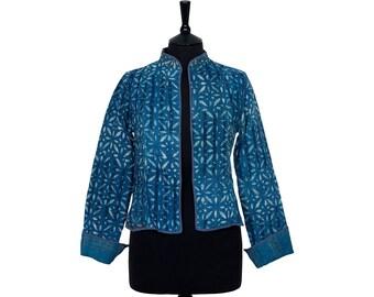 INDIGO DYED Kantha JACKET - Small - Short style - Size 8/10 - Blue design. Reverse Indigo plaid