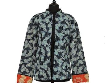 KANTHA JACKET - XXX Large - Short style - Size 18/20 - Blue flowers on black. Reverse orange and black
