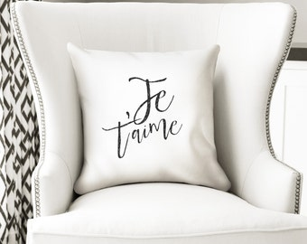 Je t'aime pillow cover - I love you in french - white decor by nkdna