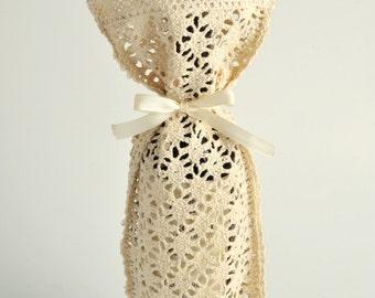 bottle bag,cotton lace bag,cotton bottle bag,wine bag,crochet bag,crochet wine bag