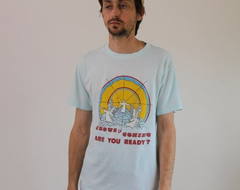 Jesus is Coming Are you Ready Soft Thin 80s Tee Medium