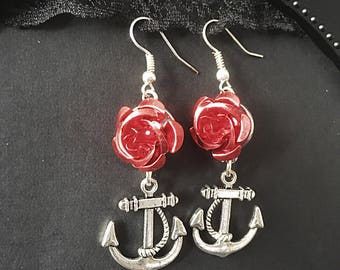 Anchor Earrings, Rose & Anchor Earrings, Metal Rose Earrings, Rose Drop Earrings, Charm Earrings, Rockabilly Jewelry, Gift For Her, Rose