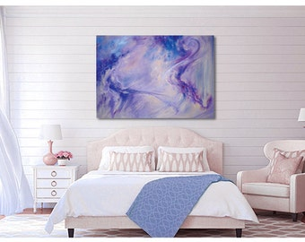 OVERSIZE Abstract Art: canvas or paper giclee print of pastel painting in blue, purple, periwinkle, by Kauai, Hawaii fine artist Donia Lilly