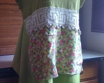 Flirty Spring Green Gypsy Frock Hippie Shabby Dress Vintage Lace Apron Tee Shirt Tunic Prairie Boho Upcycled