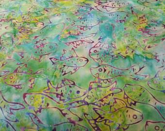 Fish Batik Fabric - Artisan Indonesian from Majestic Batiks - CBN 016 Green w/purple -  Priced by the 1/2 yard