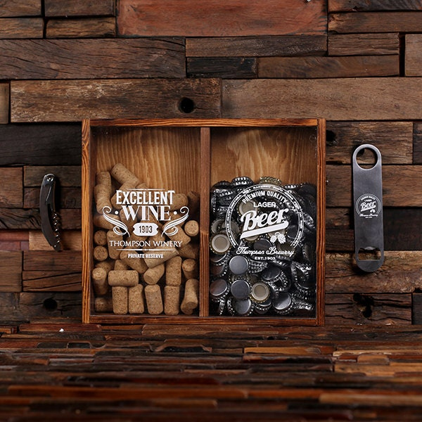 beer cap holder personalized shadow box free bottle opener corkscrew wine cork holder