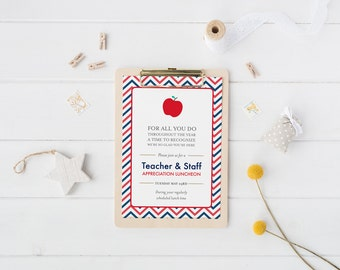 All about my teacher fill in the blank thank you card quiz teacher appreciation invitation printable teacher thank you card retirement party school staff luncheon stopboris Image collections