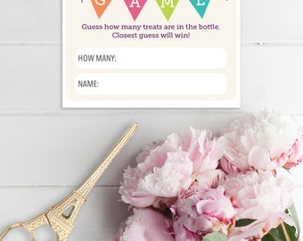 Candy Guessing Game - Baby Shower Game - Guess How Many - Jelly Bean Game - A4 and US size - A4 Shower Game - Candy Game - Instant Download