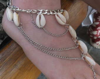 Shell and Silver Plate Ankle Braclet