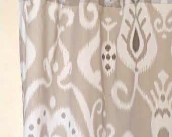 grey ikat curtain panel cotton voile printed curtain sheer drape sizes available