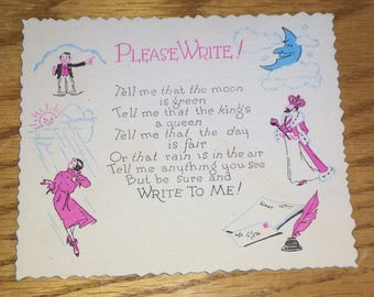 Vintage Unused Greeting Card - Please Write To Me - Thinking Of You - Vintage 1920s - 64-15a