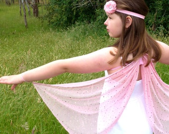 Pink Fairy/Butterfly Wings and Flower Wand Set, Pink and Silver Sparkle Wings