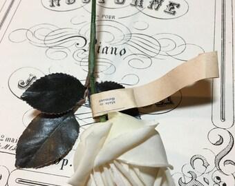 Vintage long stem white rosebud millinery flower