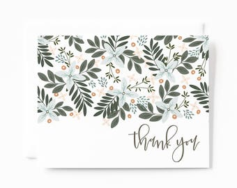 Thank You Card Set of 8 | Illustrated Floral Thank You Cards with Hand Lettered Calligraphy: Morning Blooms Thank Yous