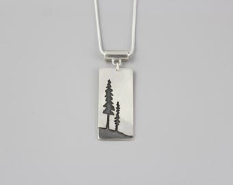 double pine tree sterling silver pendant necklace