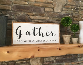 Gather Wood Sign, Large Wood Sign, Farmhouse Decor, Distressed Wood Sign, Quote Wood Sign, Fixer Upper Style, Wood Sign with Sayings