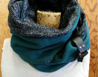 SALE! Infinity scarf teal and black