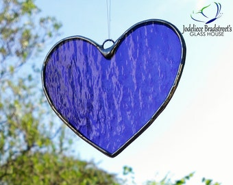 Purple Heart Stained Glass Sun Catcher Tiffany Glass Heart Suncatcher Made to Order Valentine Gift Idea