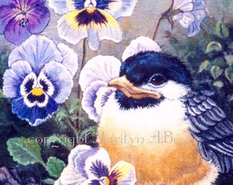 CHICKADEE ACEO CARD; Limited Edition print of only 15, baby chickadee, flowers, pansies, nature, feathers, wings, 2.5 x 3.5 inches,