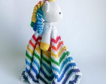 Amigurumi Unicorn Lovey /Security blanket, mercerised cotton, crocheted. Small 30cm or Large 50 cm