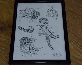 Jellyfish Reflections, framed print, digital print in vinyl black frame, standing or wall mounted